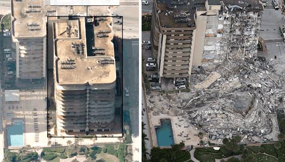 El edificio Champlain Towers colapsó en la madrugada del jueves en Miami. (BBC).
