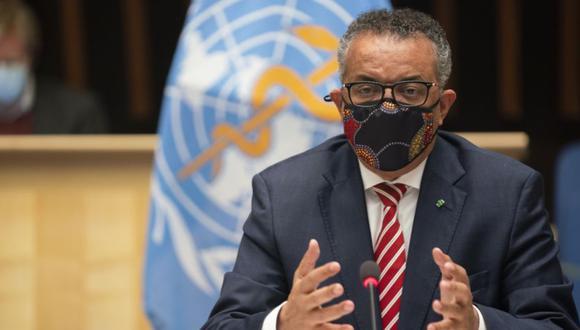 El Director General de la OMS, el Dr. Tedros Adhanom Ghebreyesus, durante una sesión especial sobre la respuesta del COVID-19. (Foto: Christopher Black/WHO via AP)