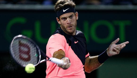 Juan Martín del Potro juega ante Milos Raonic esta noche (8:00 p.m. EN VIVO ONLINE por ESPN) por los cuartos de final del Masters 1000 de Miami. (Foto: AFP)