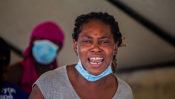 Una migrante deportada por Estados Unidos llega a Haití el 19 de septiembre de 2021. (Richard Pierrin / AFP).