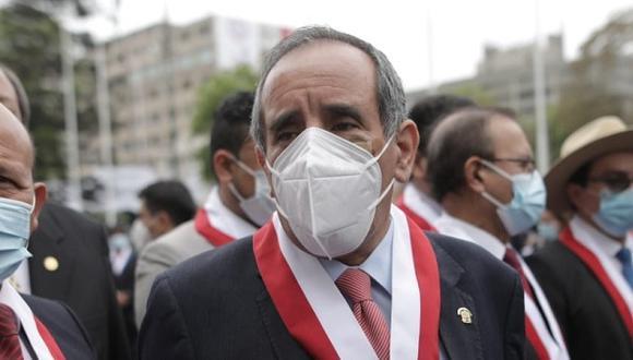 El vocero alterno de Acción Popular, Ricardo Burga, volvió a defender públicamente a Manuel Merino ante los pedidos para que renuncie a Acción Popular (Foto: Anthony Niño de Guzmán/@photo.gec)