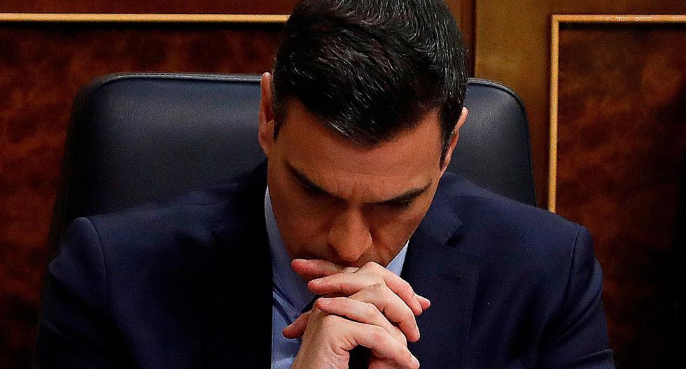Pedro Sánchez se presentó ante el Congreso de España para pedir la prolongación del estado de alarma para combatir el coronavirus. (AFP / POOL / J. J. GUILLEN).
