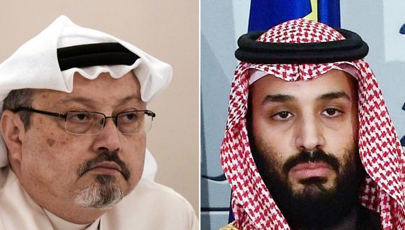 Estados Unidos acusa al príncipe heredero de Arabia Saudita,  Mohammed bin Salman (derecha), de haber ordenado el asesinato del periodista Jamal Khashoggi. (Fotos: MOHAMMED AL-SHAIKH y OSCAR DEL POZO / AFP).