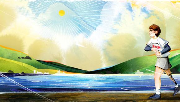 """El Doodle de este domingo 13 de septiembre celebra al atleta canadiense Terry Fox con su """"Maratón de la esperanza"""", ilustrado por la artista invitada Lynn Scurfield. (Foto: Captura Doodle Terry Fox)."""