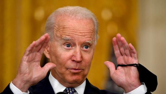 El presidente de Estados Unidos, Joe Biden, habla sobre el proyecto de ley de infraestructura aprobado por el Senado. (Foto de Jim WATSON / AFP).