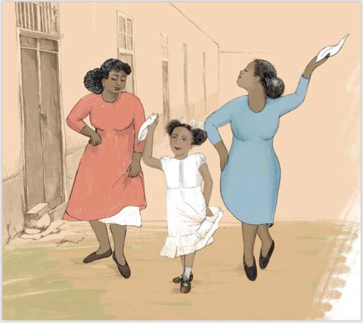 Ilustración de Sandra Zimic. La pequeña Susana bailando marinera con sus tías.