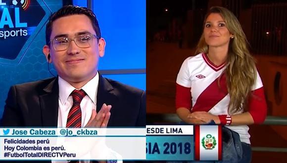 """El colombiano Camilo Castellanos durante la transmisión en vivo de """"Fútbol Total"""" con Alexandra Hörler de invitada. (Foto YouTube)"""