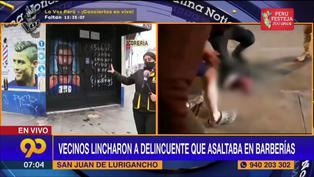 SJL: vecinos linchan a delincuente tras asalto a barbería