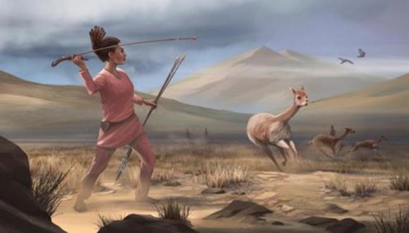 Ilustración de una cazadora que representa a los cazadores que pudieron haber aparecido en los andes hace 9.000 años. (Imagen: MATTHEW VERDOLIVO/UC DAVIS)