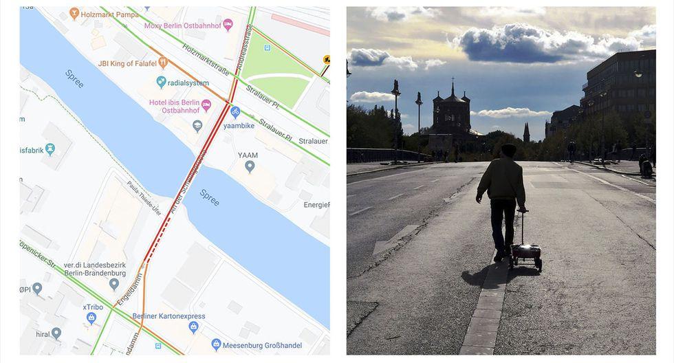 El artista alemán Simon Weckert transportando los 99 teléfonos celulares por las calles de Berlín. (YouTube | Simon Weckert)