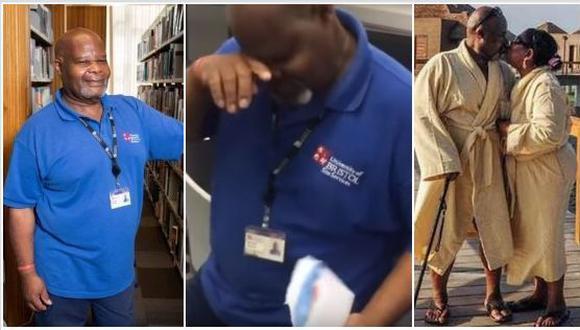 Herman Gordon es el nombre del conserje jamaiquino que protagoniza un video viral en YouTube. Los alumnos de la Universidad de Bristol, en Inglaterra tuvieron un detalle con él que no olvidarán. (Foto: internet)