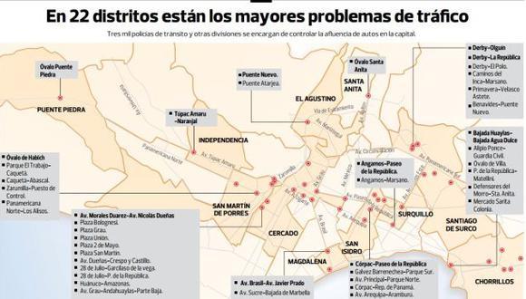 Mapa: los 75 cruces de mayor caos vehicular en horas punta