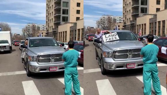 La grabación de la manifestación pacífica del personal de salud se viralizó rápidamente e indignó a miles de internautas. (Capturas: @MarcZenn/Twitter)