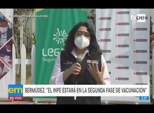 Premier Bermúdez precisó que el INPE estará en la segunda fase de vacunación contra COVID-19