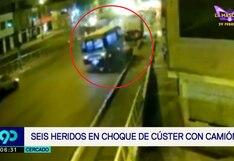 Cercado de Lima: seis heridos dejó choque de cúster contra rampa de carga en la Av. Universitaria   VIDEO