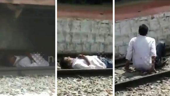 Hombre se salvó por un pelo de ser arrollado por un tren en la India. (Crédito: Newsflare en Facebook)