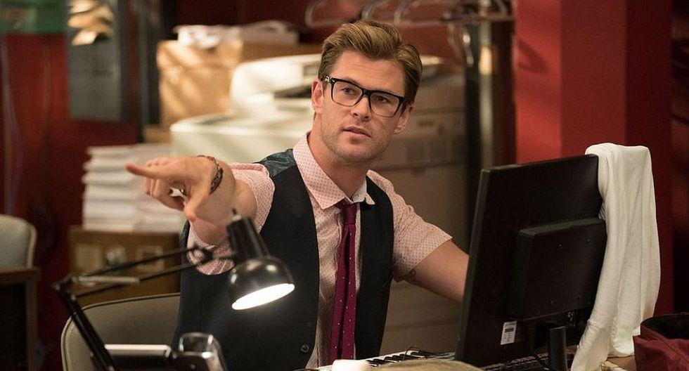 """Así lucía Chris Hemsworth en la película """"Cazafantasmas"""". (Foto: Columbia Pictures)"""