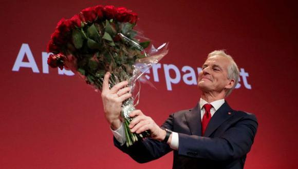 Jonas Gahr Støre celebrando su triunfo electoral en Noruega. (Getty Images).
