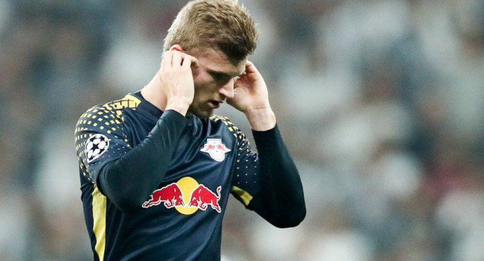 Timo Werner no pudo acabar la primera parte del duelo entre RB Leipzig y Besiktas por Champions League. El goleador alemán terminó siendo reemplazado sobre los 32'. (Foto: AFP)