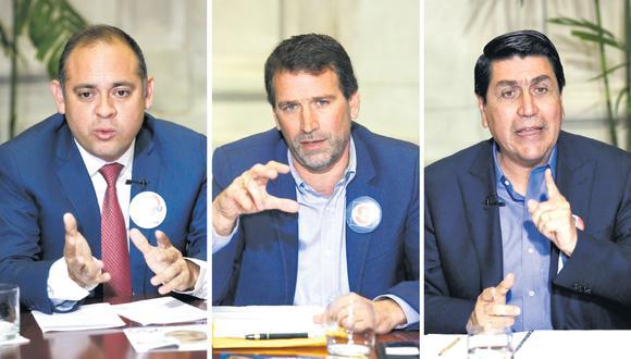 Los candidatos Víctor Bazán, Rafael Santos y Augusto Cáceres (de izquierda a derecha) participaron ayer en el debate electoral organizado por El Comercio. (Foto: Paco Sanseviero / El Comercio)