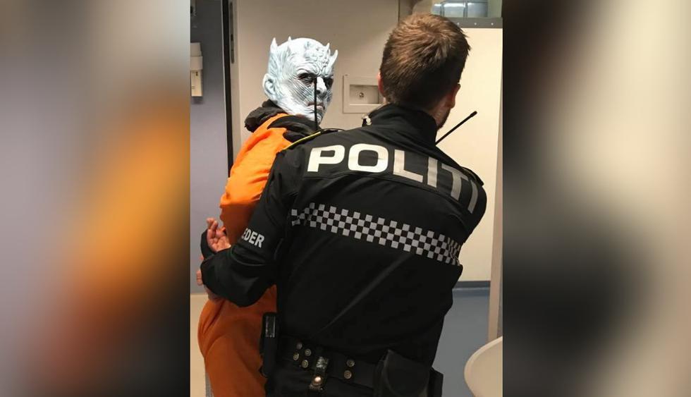"""El 'Night King' de Game of Thrones fue """"arrestado"""" en Noruega acusado de varios actos criminales. (Fotos: Politiet i Trondheim en Facebook)"""