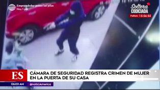 Cámaras registran asesinato de una mujer en la puerta de su casa