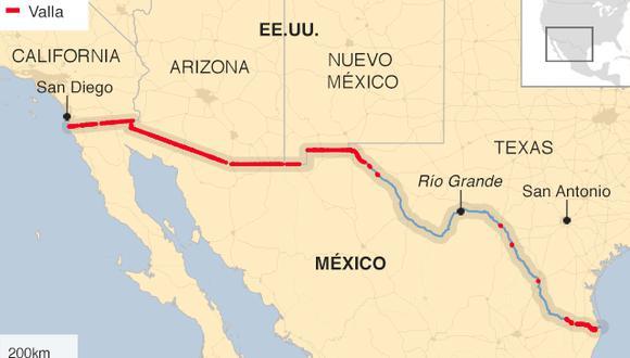 Valla fronteriza entre Estados Unidos y México. (BBC).