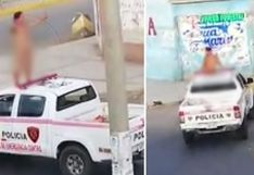 Chimbote: Mujer desnuda se trepa a techo de patrullero y dice que está infectada con COVID-19   VIDEO