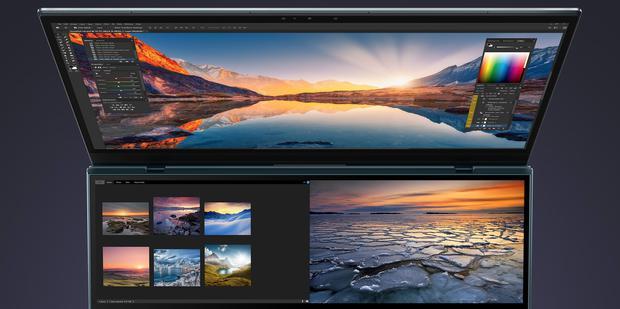 La ZenBook Pro Duo permite tener un mayor área de trabajo en programas de diseño. (Foto: Asus)