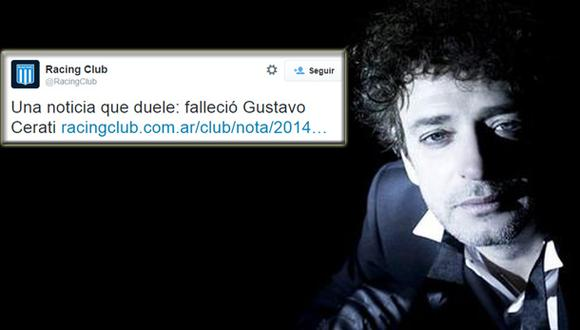 Racing Club lamentó muerte de su hincha ilustre Gustavo Cerati