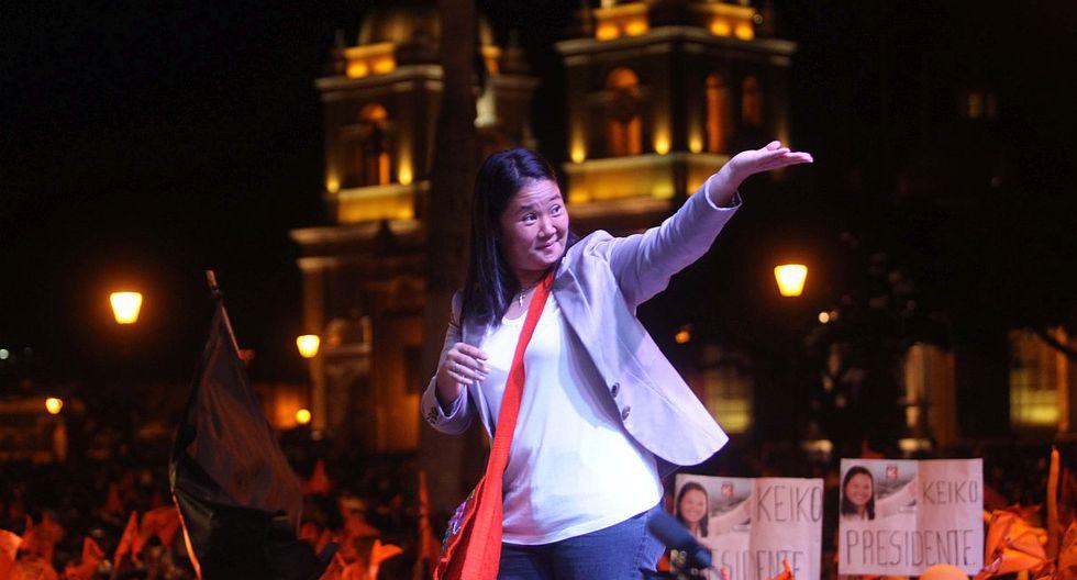 Keiko Fujimori en una actividad en Trujillo durante la segunda vuelta electoral de la campaña del 2011. (Lino Chipana / GEC)