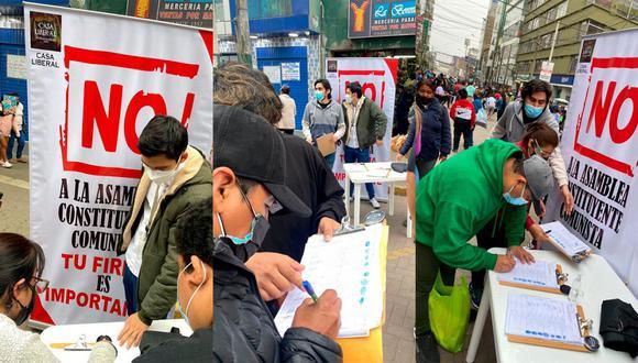 Voluntarios recolectando firmas en contra de la asamblea constituyente en el emporio textil de Gamarra, en La Victoria. Ghersi señala que hasta ahora ya han juntado poco más de un millón de rúbricas en el país. (Foto: cortesí Lucas Ghersi)