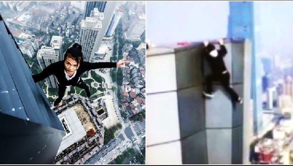 Wu Yongning, conocido por hacer acrobacias en rascacielos sin ningún tipo de protección, falleció al caer del piso 62. Al parecer, el joven iba a recibir más de US$ 14.000 por el reto. (Foto: Redes sociales / Captura)