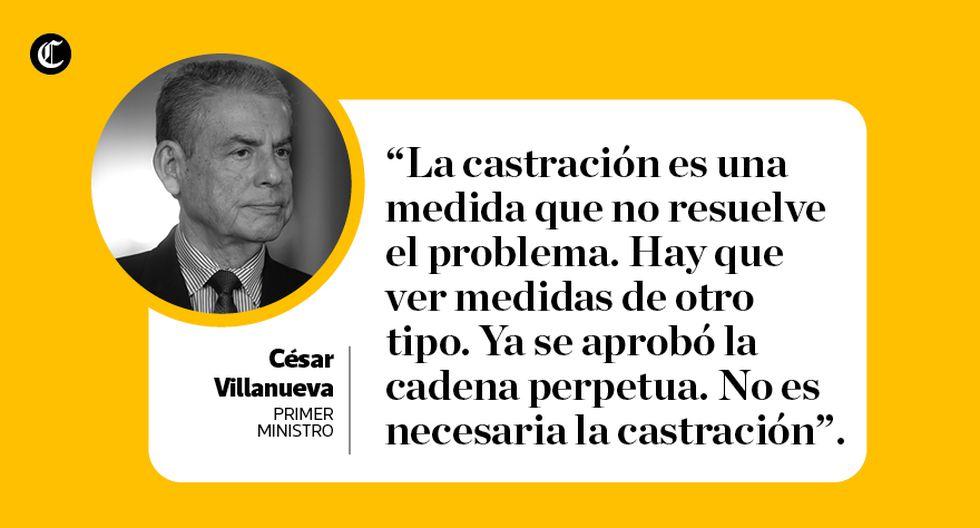 Las frases del primer ministro César Villanueva en entrevista con El Comercio. (Composición: María Loli / El Comercio)