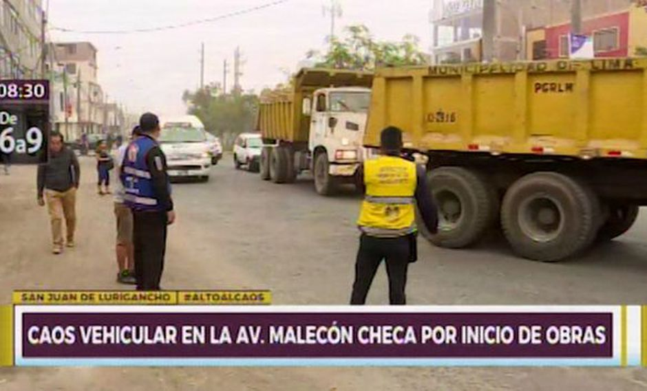 Caos vehicular tras desvió por obras en Av. Malecón Checa(Ex Campoy) (Captura: Canal N)