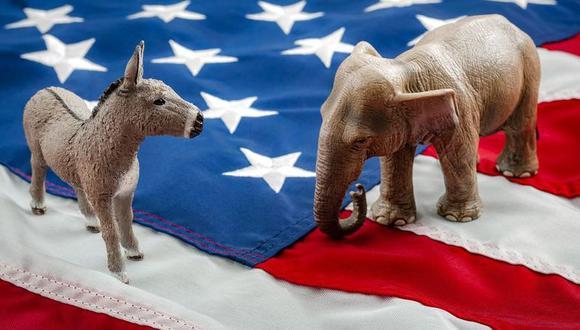 Aunque la democracia de Estados Unidos alberga a un sinfín de partidos políticos, el país tiene, en la práctica, un sistema bipartidista dominado por demócratas, cuyo símbolo político es un burro, o republicanos, cuyo símbolo es un elefante. (Foto: Getty Images)