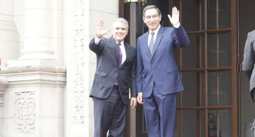 El presidente Martín Vizcarra recibe en Palaciode Gobierno a su homólogo de Colombia, Iván Duque. (Foto: Piko Tamashiro/ GEC)
