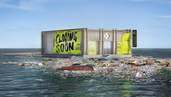 La tienda virtual 'Renew Labs' está sobre una gran mancha de desechos plásticos. (Foto: Converse)