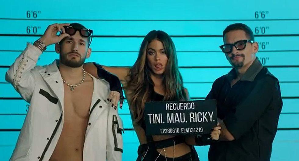 """Tini Stoessel se unió a Mau y Ricky para lanzar su nuevo single """"Recuerdo"""". (Foto: Captura de video)"""