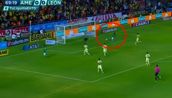 América vs. León: 'Águilas' fueron sorprendidas con este gol de Macías. (Foto: captura)
