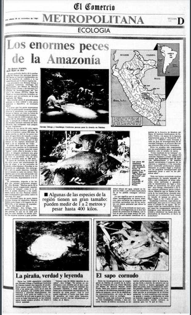 """""""Los enormes peces de la Amazonía"""", uno de los trabajos más elogias de Bárbara, para la página Ecología de El Comercio."""