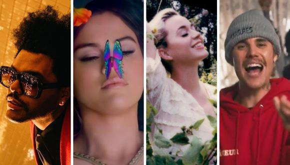 The Weeknd, Selena Gomez, Katy Perry y Justin Bieber solo son algunos de los artistas presentes en la lista de Billboard. (Foto: Composición Mag con imágenes de videoclips de YouTube)
