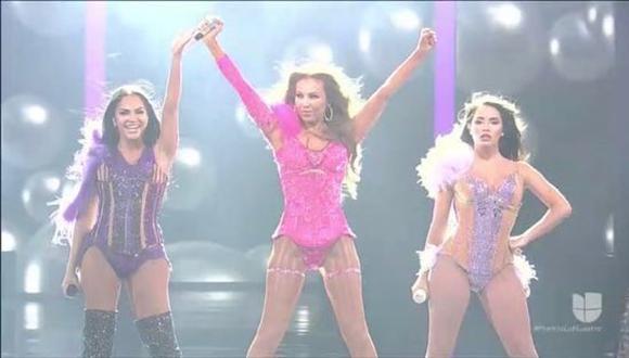Thalía, Natti Natasha y Lali Espósito emocionaron a todos los presentes en Premios Lo Nuestro 2019 con explosiva presentación. (Captura de pantalla)