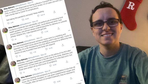 Un joven de 23 años compartió su historia para advertir a sus contemporáneos a tomarse en serio la pandemia de Covid-19. | Crédito: @RileyBehrens / Twitter.
