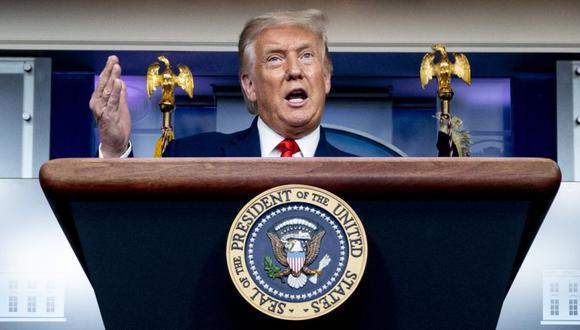 El presidente Donald Trump durante una conferencia de prensa en la sala de conferencias de prensa James Brady en la Casa Blanca en Washington. (Foto: AP / Andrew Harnik).