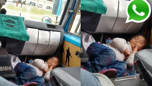 Vía WhatsApp: una niña es transportada en el piso de un carro
