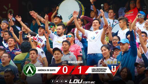 Liga de Quito venció 1-0 en su visita al América de Quito por la Serie A de Ecuador. (Foto: LDU)