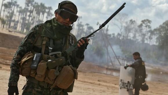 Miembros del Ejército y de la Policía trabajan coordinadamente en el distrito de Vizcatán del Ene (Foto: Andina / Referencial)