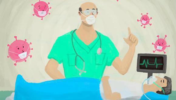 """""""Visitar a un médico es un modo de confortarnos con la idea de que hay alguien más, fuera de parientes y amigos cercanos, preocupados por nuestra salud"""". (Ilustración: Giovanni Tazza)."""