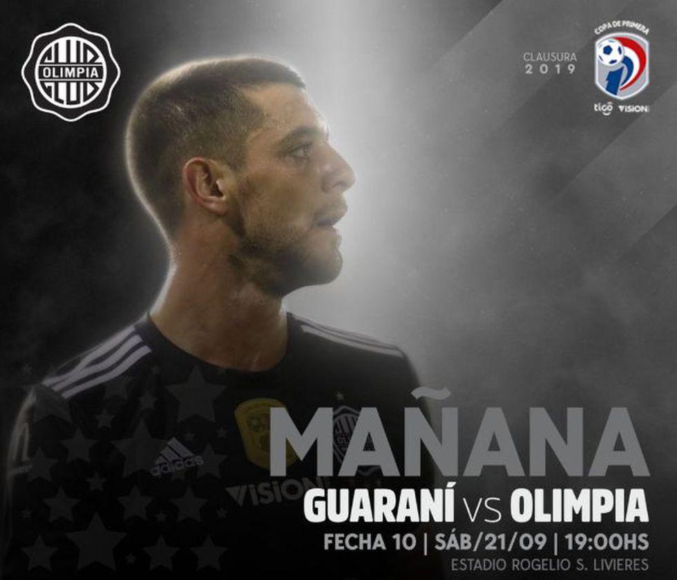 Olimpia vs Guaraní EN VIVO vía Tigo Sports: por fecha 10° del Clausura 2019 del fútbol de Paraguay. (Foto: Twitter Olimpia)